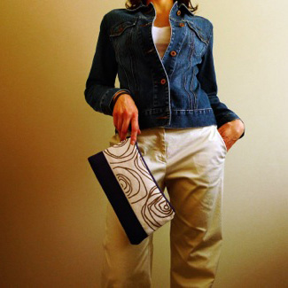 Navy/khaki handbag designed handprinted and made by Maria Stultz