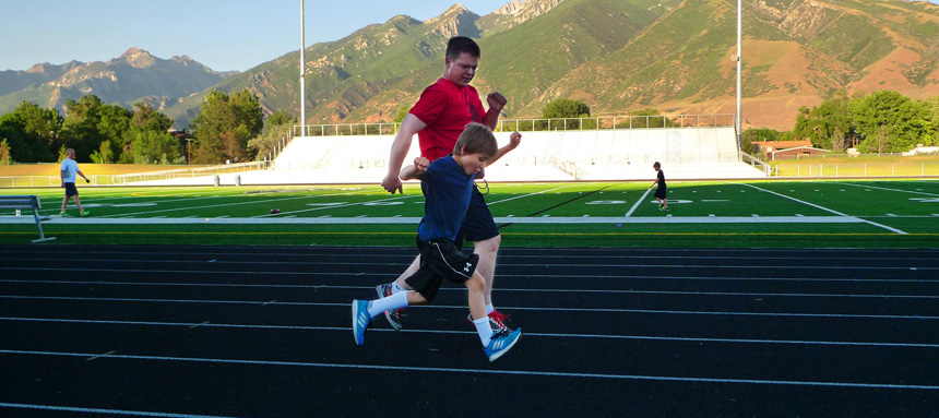 running together on the track