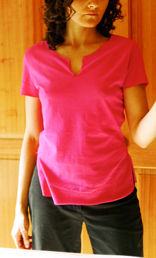 handmade and self drafted hot pink top
