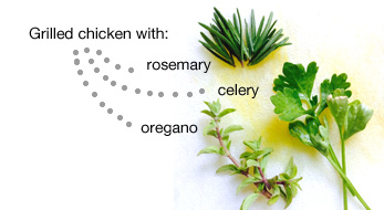 rosemary, celery, and oregano for grilled chicken