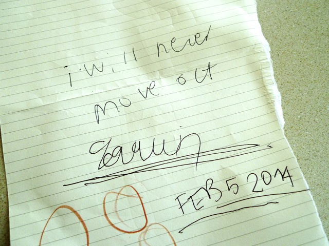 'I will never move out', signed by Joaquin on Feb 5, 2014