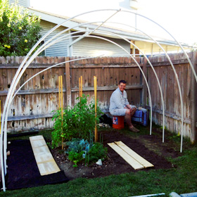 Joey helping me set up a hoophouse around what's left of my summer garden