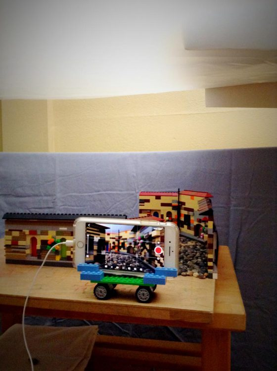 The set for scene 1 lit and ready; phone camera in a lego dolly ready to shoot