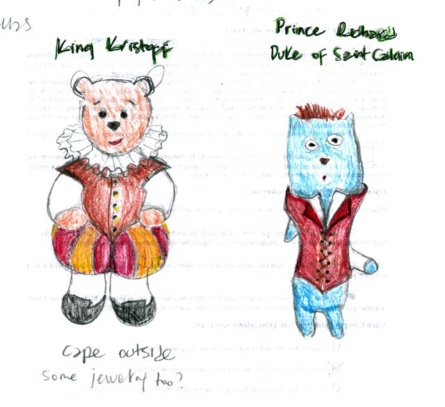 color pencil sketch of costumes for the king and his brother