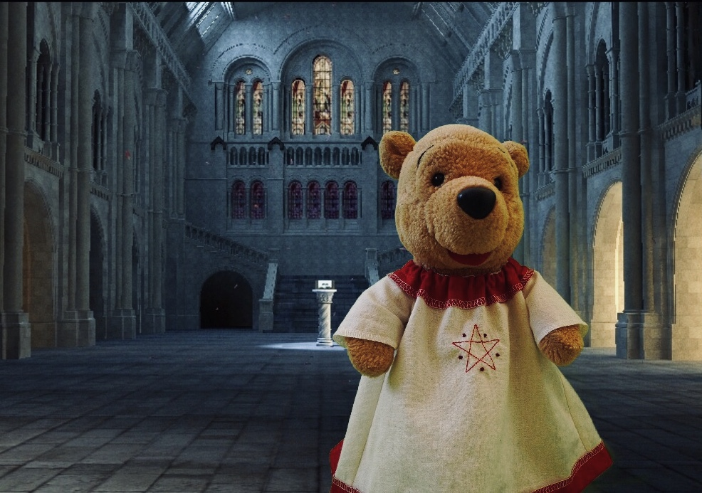 Stuffed bear in old-fashioned nightgown