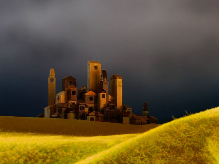 Micro lego town with stormy sky and sunset light