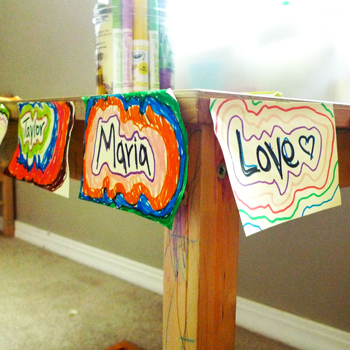 Colorful love notes left in the playroom by one of our Son-Rise volunteers