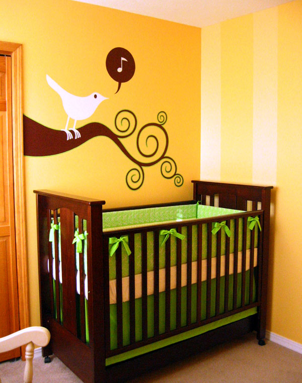 My finished baby room including handmade crib bedding and a crisp bird mural