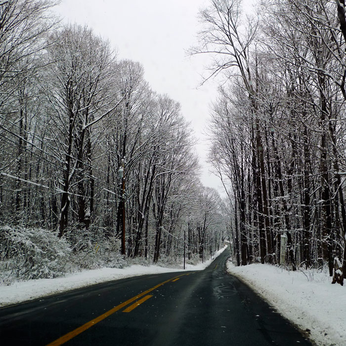 The road in the morning we returned from our Son-Rise Intensive program, after a snow storm.